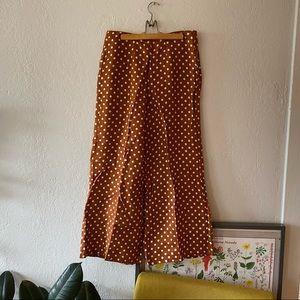 Anthropologie linen polka dot wide leg pant
